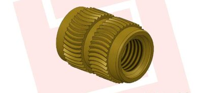 Threaded bushing for press-in with curved knurled form